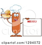 Clipart Of A Cartoon Happy Sausage Chef Character With A Hot Dog Fries And Soda By A Menu Board Royalty Free Vector Illustration by Hit Toon