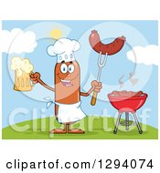 Clipart Of A Cartoon Happy Sausage Chef Character Holding A Beer And Meat On A Bbq Fork By A Grill On A Hill Royalty Free Vector Illustration by Hit Toon