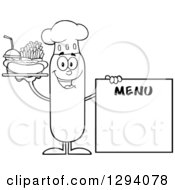 Clipart Of A Cartoon Black And White Happy Sausage Chef Character With A Hot Dog Fries And Soda By A Menu Board Royalty Free Vector Illustration by Hit Toon