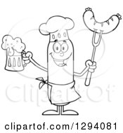 Clipart Of A Cartoon Black And White Happy Sausage Chef Character Holding A Beer And Meat On A Bbq Fork Royalty Free Vector Illustration by Hit Toon