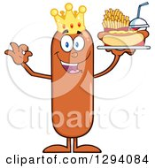 Clipart Of A Cartoon Happy Sausage King Character Holding A Hot Dog French Fries And Soda On A Tray And Gesturing Ok Royalty Free Vector Illustration by Hit Toon
