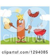Clipart Of A Cartoon Happy Sausage King Character Holding A Beer And Meat On A Bbq Fork By A Grill On A Hill Royalty Free Vector Illustration