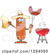 Clipart Of A Cartoon Happy Mexican Sausage Character Holding A Beer And Meat On A Bbq Fork By A Grill Royalty Free Vector Illustration by Hit Toon