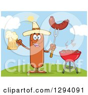 Clipart Of A Cartoon Happy Mexican Sausage Character Holding A Beer And Meat On A Bbq Fork By A Grill On A Hill Royalty Free Vector Illustration by Hit Toon