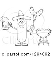 Clipart Of A Cartoon Black And White Happy Mexican Sausage Character Holding A Beer And Meat On A Bbq Fork By A Grill Royalty Free Vector Illustration by Hit Toon