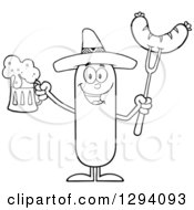 Clipart Of A Cartoon Black And White Happy Mexican Sausage Character Holding A Beer And Meat On A Bbq Fork Royalty Free Vector Illustration by Hit Toon