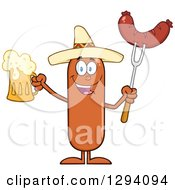 Clipart Of A Cartoon Happy Mexican Sausage Character Holding A Beer And Meat On A Bbq Fork Royalty Free Vector Illustration by Hit Toon