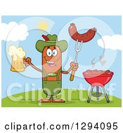 Clipart Of A Cartoon Happy Sausage German Oktoberfest Character Holding A Beer And Meat On A Bbq Fork By A Grill On A Hill Royalty Free Vector Illustration