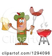 Cartoon Happy Sausage German Oktoberfest Character Holding A Beer And Meat On A Bbq Fork By A Grill