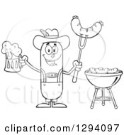 Clipart Of A Cartoon Black And White Happy Sausage German Oktoberfest Character Holding A Beer And Meat On A Bbq Fork By A Grill Royalty Free Vector Illustration