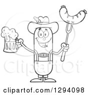 Clipart Of A Cartoon Black And White Happy Sausage German Oktoberfest Character Holding A Beer And Meat On A Bbq Fork Royalty Free Vector Illustration