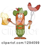 Clipart Of A Cartoon Happy Sausage German Oktoberfest Character Holding A Beer And Meat On A Bbq Fork Royalty Free Vector Illustration by Hit Toon