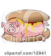 Relaxed Pig Covered In Mustard And Ketchup Lying In A Hamburger Bun Clipart Illustration
