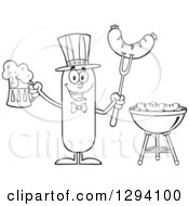 Clipart Of A Cartoon Black And White Happy American Sausage Character Holding A Beer And Meat On A Bbq Fork By A Grill Royalty Free Vector Illustration