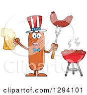 Clipart Of A Cartoon Happy American Sausage Character Holding A Beer And Meat On A Bbq Fork By A Grill Royalty Free Vector Illustration by Hit Toon