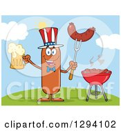 Clipart Of A Cartoon Happy American Sausage Character Holding A Beer And Meat On A Bbq Fork By A Grill On A Hill Royalty Free Vector Illustration by Hit Toon