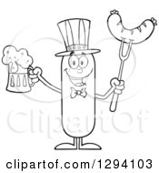 Clipart Of A Cartoon Black And White Happy American Sausage Character Holding A Beer And Meat On A Bbq Fork Royalty Free Vector Illustration