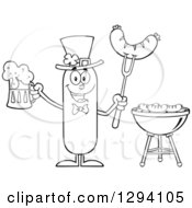 Clipart Of A Cartoon Black And White St Patricks Day Leprechaun Sausage Character Holding A Beer And Meat On A Bbq Fork By A Grill Royalty Free Vector Illustration