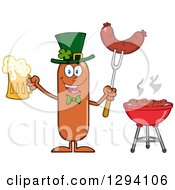 Clipart Of A Cartoon St Patricks Day Leprechaun Sausage Character Holding A Beer And Meat On A Bbq Fork By A Grill Royalty Free Vector Illustration