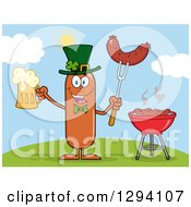 Clipart Of A Cartoon St Patricks Day Leprechaun Sausage Character Holding A Beer And Meat On A Bbq Fork By A Grill On A Hill Royalty Free Vector Illustration