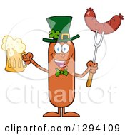 Clipart Of A Cartoon St Patricks Day Leprechaun Sausage Character Holding A Beer And Meat On A Bbq Fork Royalty Free Vector Illustration