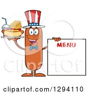 Clipart Of A Cartoon Happy American Sausage Character With A Hot Dog Fries And Soda By A Menu Board Royalty Free Vector Illustration