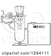 Clipart Of A Cartoon Black And White Happy American Sausage Character With A Hot Dog Fries And Soda By A Menu Board Royalty Free Vector Illustration by Hit Toon