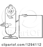 Clipart Of A Cartoon Black And White Happy Sausage Character Standing By And Pointing To A Blank Sign Royalty Free Vector Illustration by Hit Toon