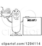 Clipart Of A Cartoon Black And White Happy Sausage Character With A Hot Dog Fries And Soda By A Menu Board Royalty Free Vector Illustration by Hit Toon