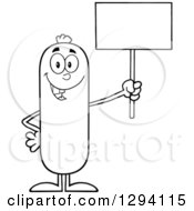 Clipart Of A Cartoon Black And White Happy Sausage Character Holding Up A Blank Sign Royalty Free Vector Illustration by Hit Toon