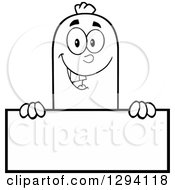 Clipart Of A Cartoon Black And White Happy Sausage Character Over A Blank Sign Royalty Free Vector Illustration by Hit Toon