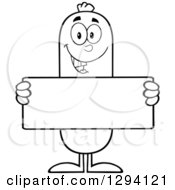 Clipart Of A Cartoon Black And White Happy Sausage Character Holding A Blank Sign Royalty Free Vector Illustration by Hit Toon