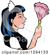 Clipart Of A Cartoon Maid In Profile Holding A Feather Duster Royalty Free Vector Illustration by LaffToon