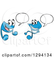 Cartoon Happy Blue Music Notes Talking Or Singing