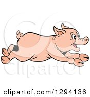 Clipart Of A Cartoon Happy Pig Running To The Right Royalty Free Vector Illustration
