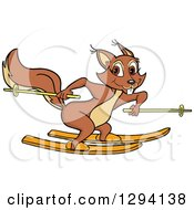 Cartoon Happy Female Squirrel Skiing To The Right