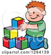 Cartoon Happy Red Haired White Boy Playing With Building Block Toys