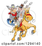 Clipart Of A Cartoon Chicken Bull And Pig Civil War Soldiers Riding A Horse With Bbq Sauce Royalty Free Vector Illustration by LaffToon