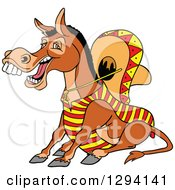 Cartoon Happy Mexican Donkey Sitting And Laughing