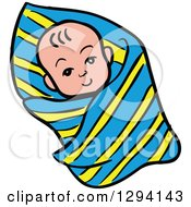 Clipart Of A Cartoon Happy White Baby Swaddled In A Blanket Royalty Free Vector Illustration