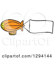 Clipart Of A Cartoon Orange Blimp With A Blank Aerial Banner Royalty Free Vector Illustration
