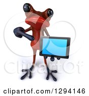 3d Red Springer Frog Looking Up Holding And Pointing To A Tablet Computer