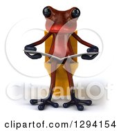 Clipart Of A 3d Red Springer Frog Reading A Newspaper And Sitting On A Yellow Toilet Royalty Free Illustration