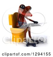 Clipart Of A 3d Red Springer Frog Facing Right Reading A Newspaper And Sitting On A Yellow Toilet Royalty Free Illustration
