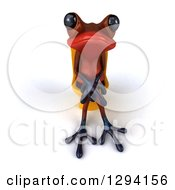 Clipart Of A 3d Red Springer Frog Sitting On A Yellow Toilet Royalty Free Illustration