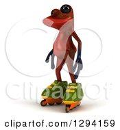 Clipart Of A 3d Red Springer Frog Facing Left In Roller Blade Inline Skates Royalty Free Illustration
