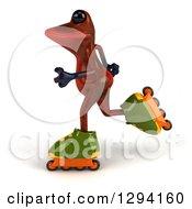 Clipart Of A 3d Red Springer Frog Roller Blading To The Left Royalty Free Illustration