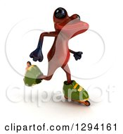 Clipart Of A 3d Red Springer Frog Roller Blading Slightly To The Right Royalty Free Illustration