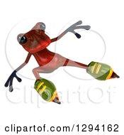 Clipart Of A 3d Red Springer Frog Roller Blading Royalty Free Illustration