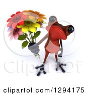 3d Red Springer Frog Holding Up A Bouquet Of Flowers
